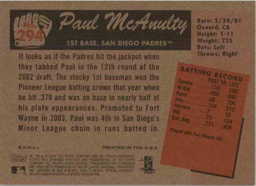 2004 Bowman Heritage Paul McAnulty #294 card back image