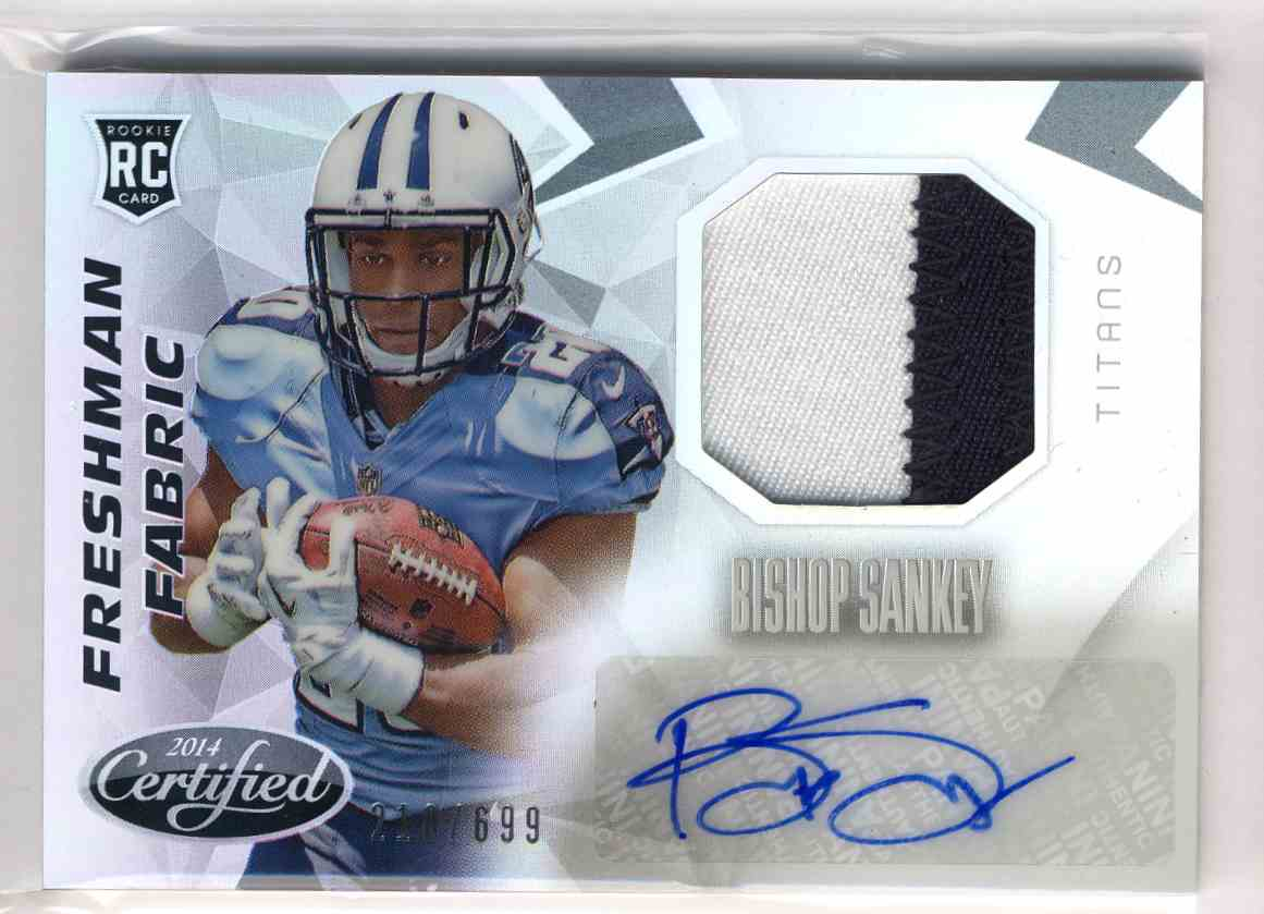 2014 Panini Certified Freshman Fabric Mirror Signatures Bishop Sankey #207 card front image