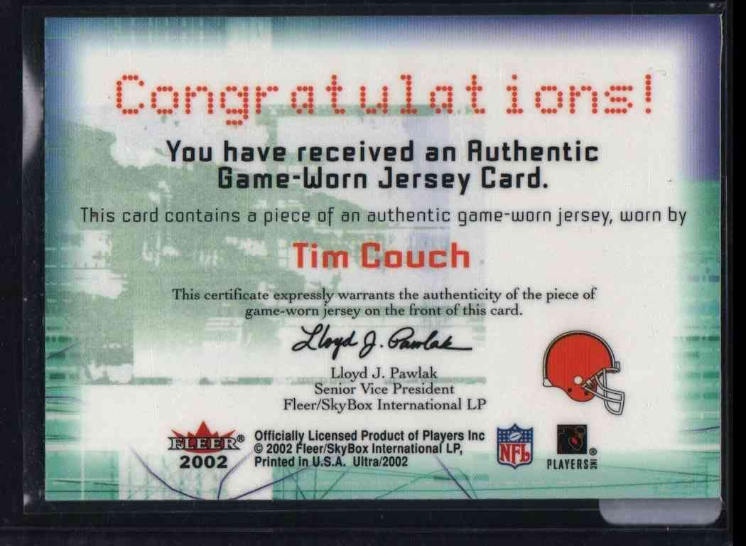 2002 Fleer Tim Couch #NNO card back image