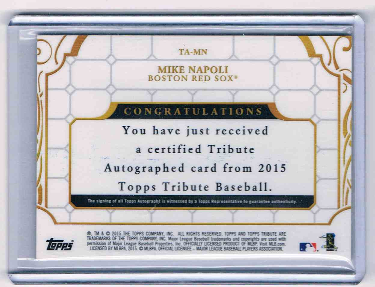 2015 Topps Tribute Mike Napoli #TA-MN card back image