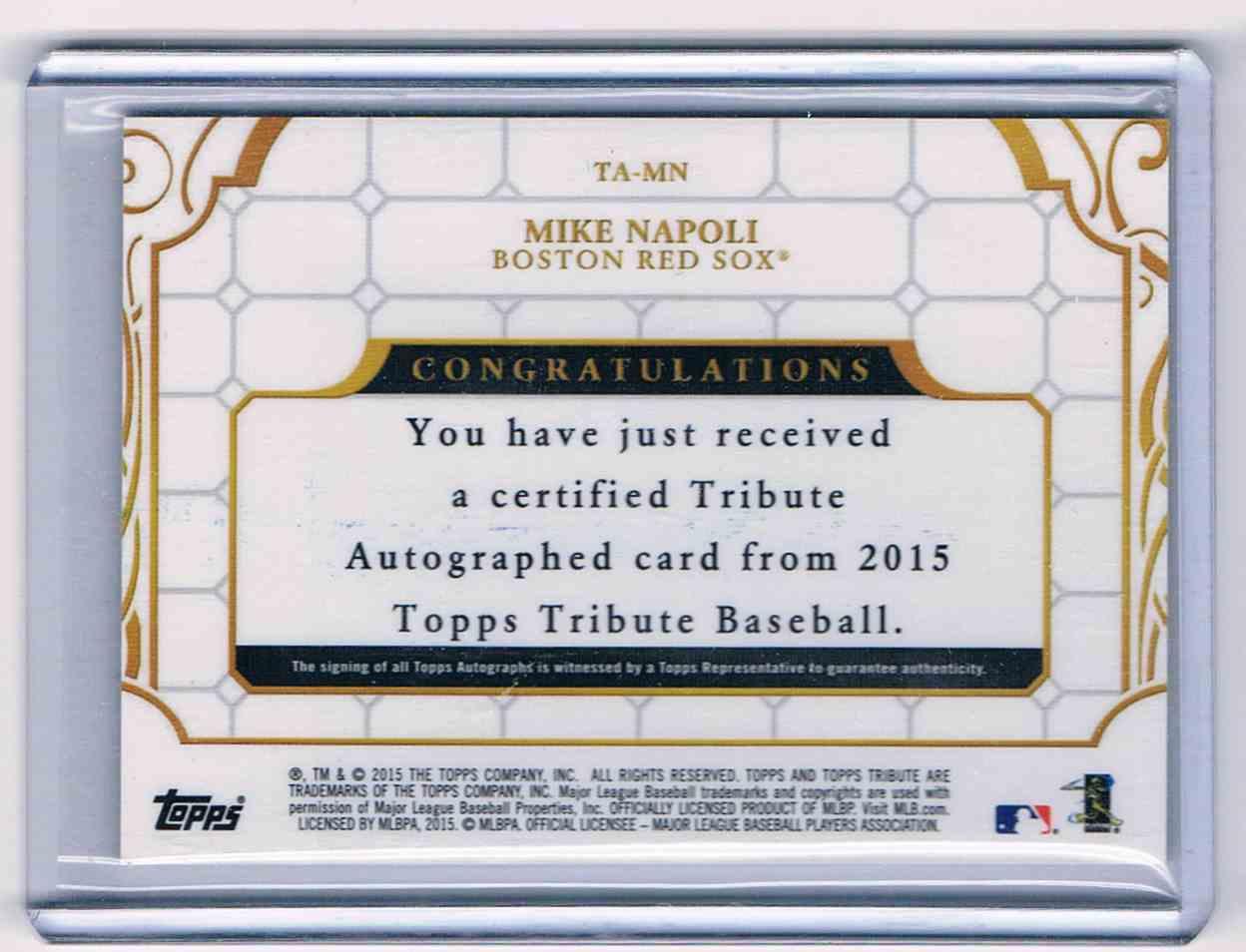 2015 Topps Tribute Mike Napoli #TA-MN card back image