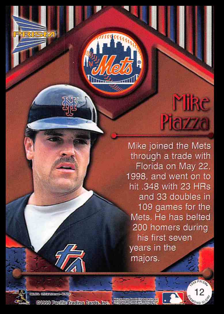 1999 Pacific Prism Diamond Glory Mike Piazza #12 card back image