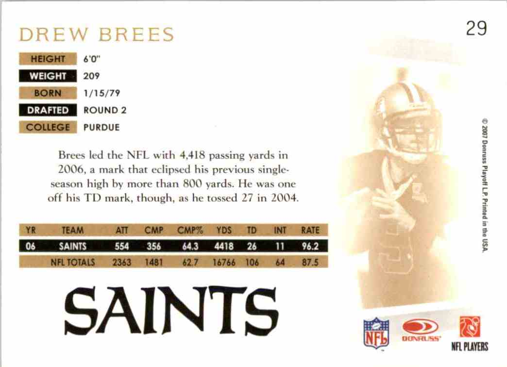 2007 Donruss Threads Drew Brees #29 card back image