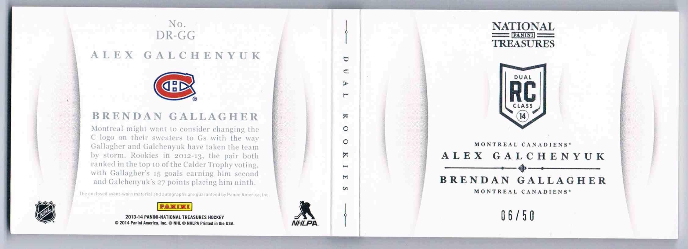 2013-14 Panini National Treasures Dual Rookie Jumbo Patch Autographs Alex Galchenyuk/Brendan Gallagher #DR-GG card back image