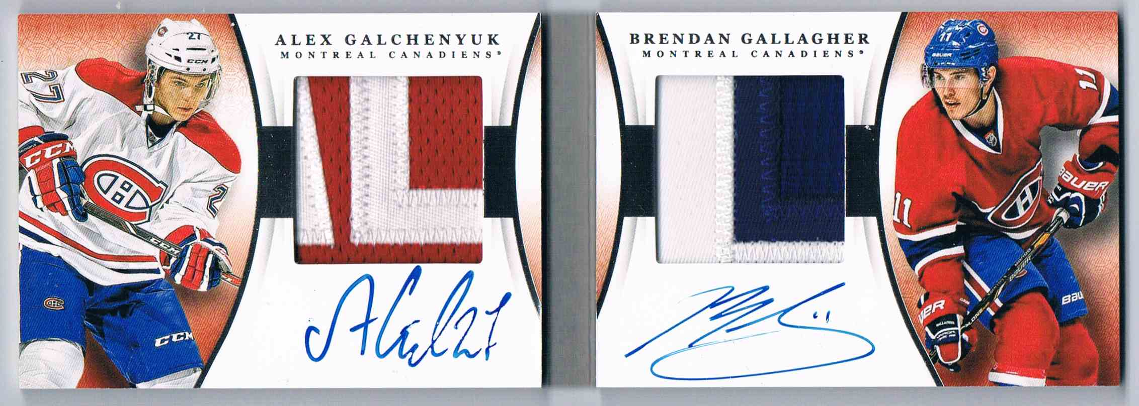 2013-14 Panini National Treasures Dual Rookie Jumbo Patch Autographs Alex Galchenyuk/Brendan Gallagher #DR-GG card front image