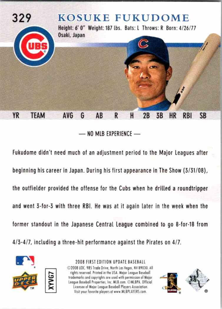2008 Upper Deck First Edition Kosuke Fukudome #329 card back image