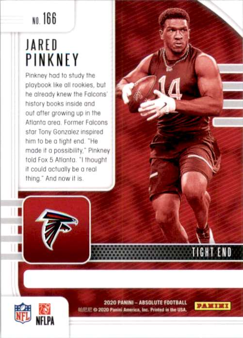 2020 Absolute Jared Pinkney RC #166 card back image
