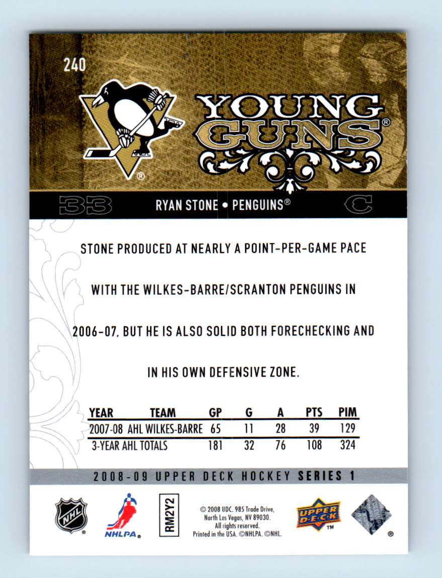2008-09 Upper Deck Young Guns Ryan Stone #240 card back image
