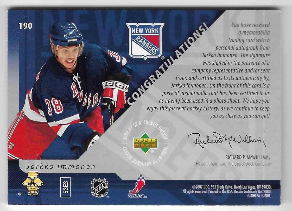 2006-07 SP Authentic Jarkko Immonen #190 card back image