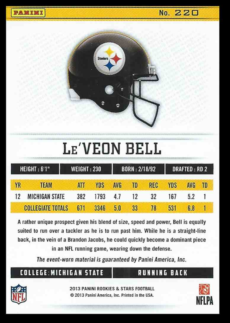 2013 Panini Rookies And Stars Longevity Le'veon Bell #220 card back image