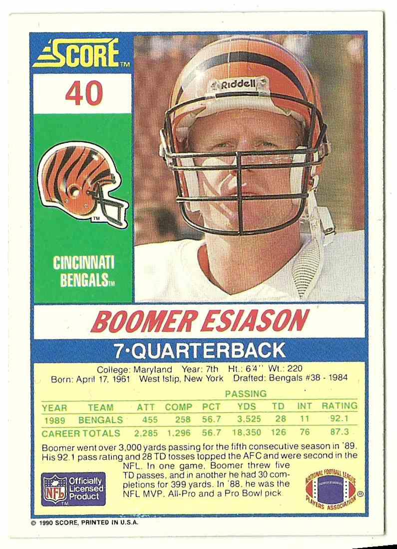 1990 Score Boomer Esiason #40 card back image