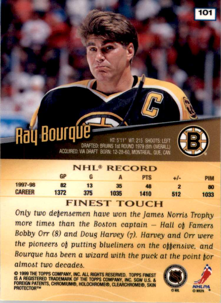 1998-99 Finest Ray Bourque #101 card back image