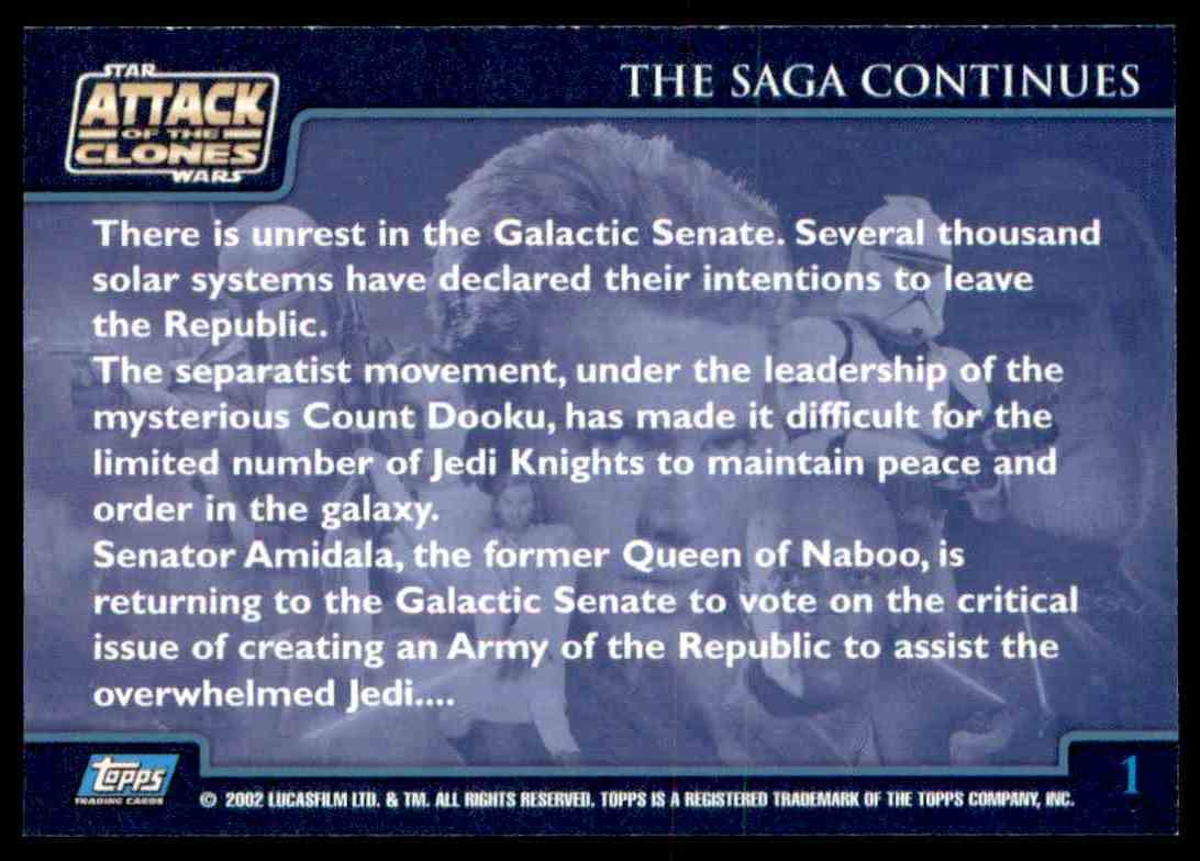 2002 Topps Star Wars Attack Of The Clones The Saga Continues #1 card back image