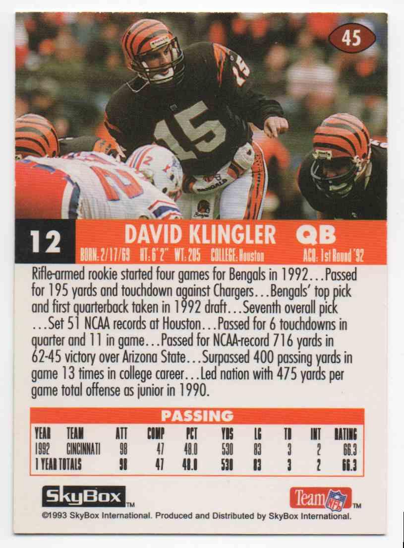 1993 Skybox Impact David Klingler #45 card back image