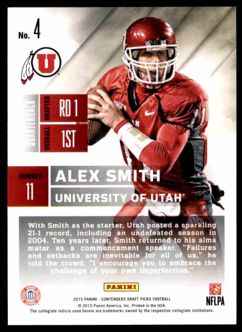 pretty nice 089cc 3716e 2015 Contenders Draft Picks Alex Smith - Utah Utes #4 on ...