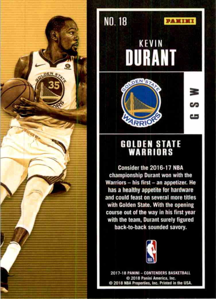 2017-18 Panini Contenders Base Kevin Durant #18 card back image