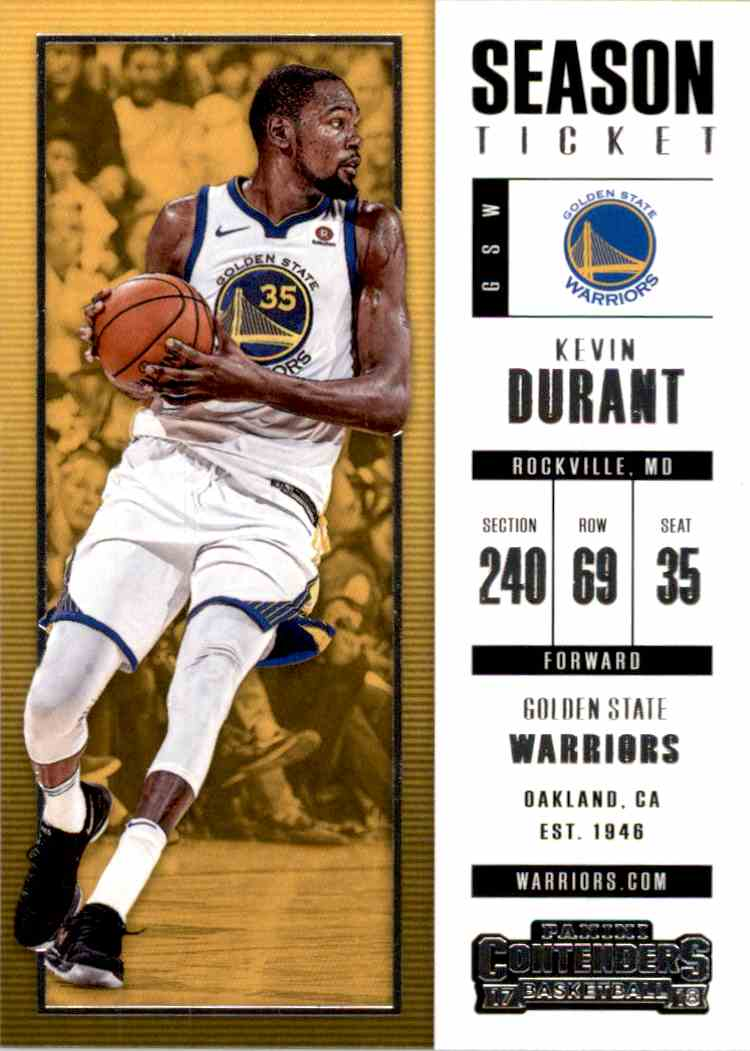 2017-18 Panini Contenders Base Kevin Durant #18 card front image
