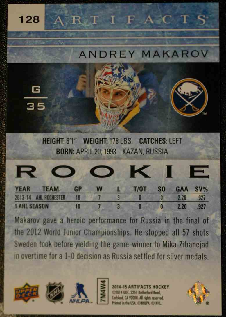2014-15 Artifacts Ruby RC Andrey Makarov #128 card back image