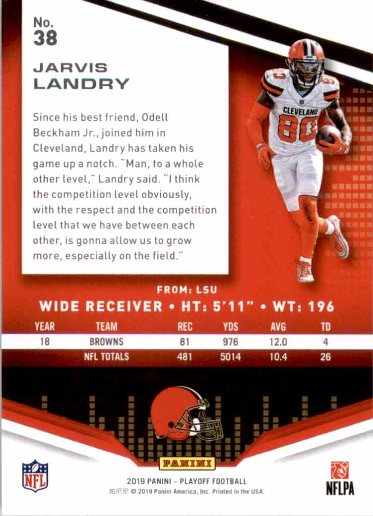 2019 Playoff Jarvis Landry #38 card back image