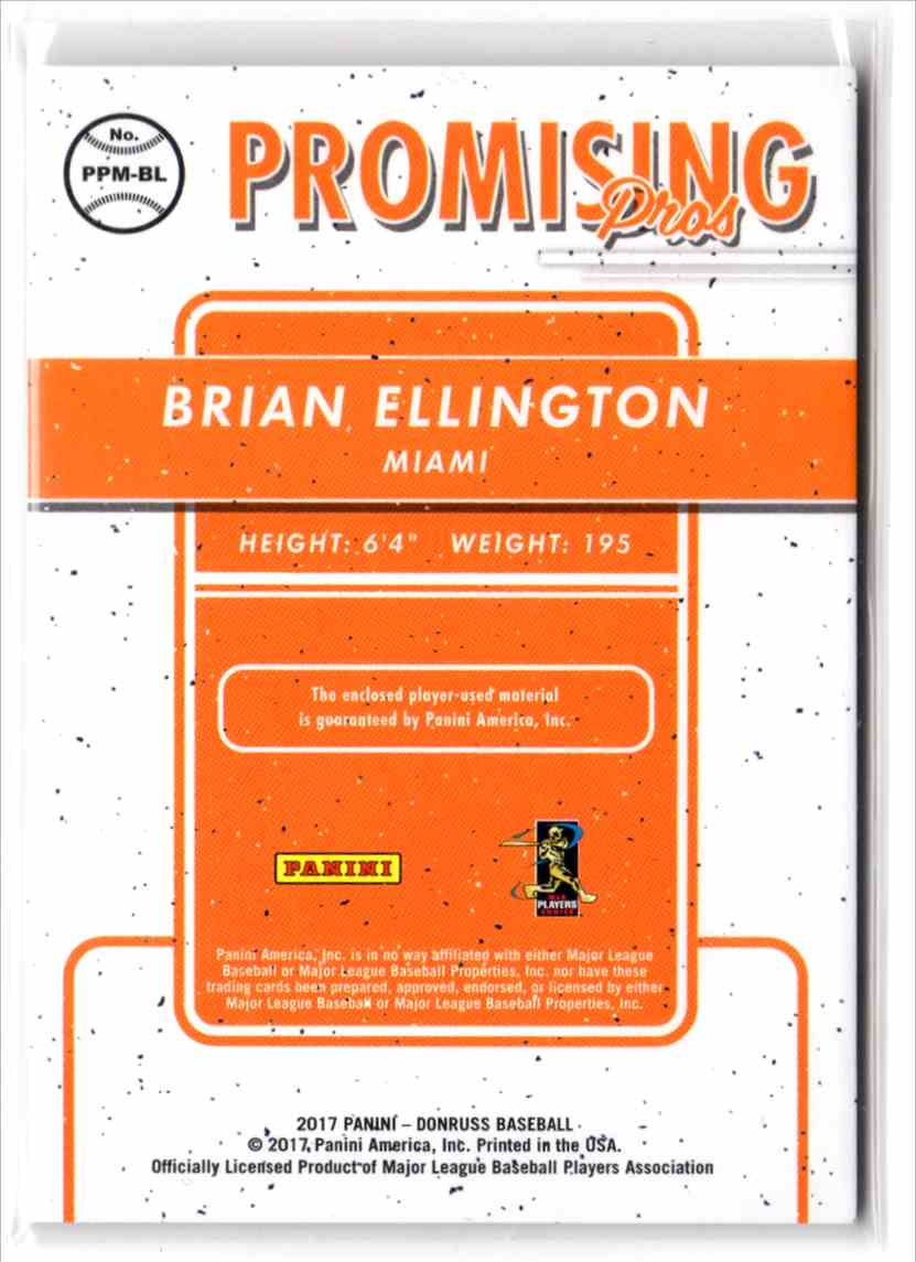 2017 Donruss Promising Pros Materials Brian Ellington #PPMBL card back image