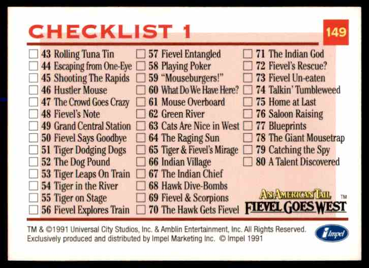 1991 An American Tail Checklist 1 #149 card back image