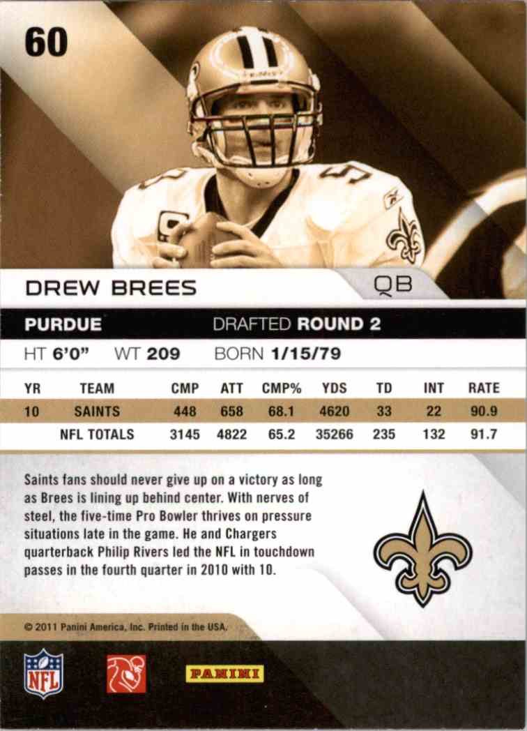 2011 Absolute Memorabilia Drew Brees #60 card back image