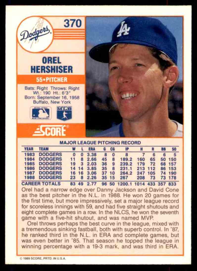 1989 Score Regular Orel Hershiser #370 card back image