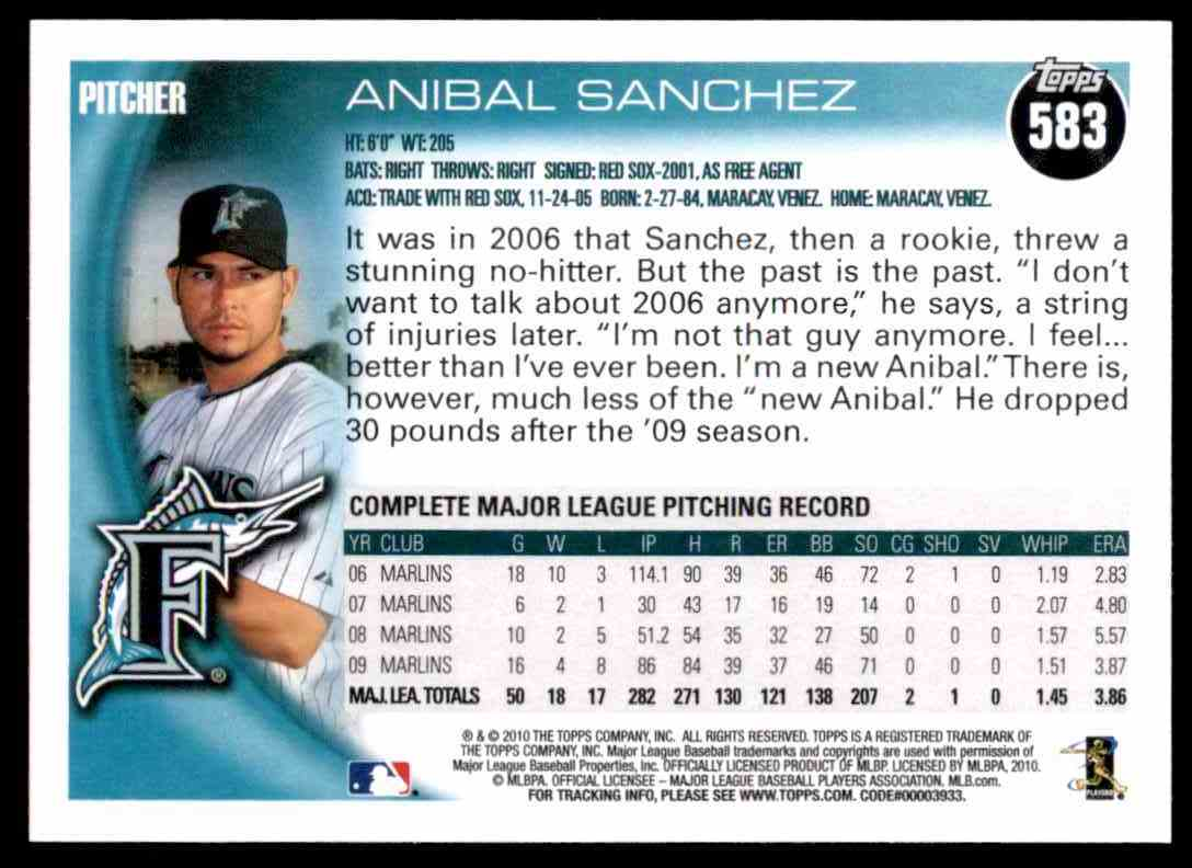 2010 Topps Anibal Sanchez #583 card back image