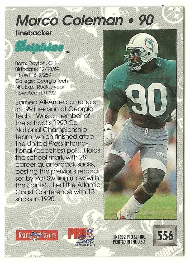 1992 Pro Set Marco Coleman #556 card back image