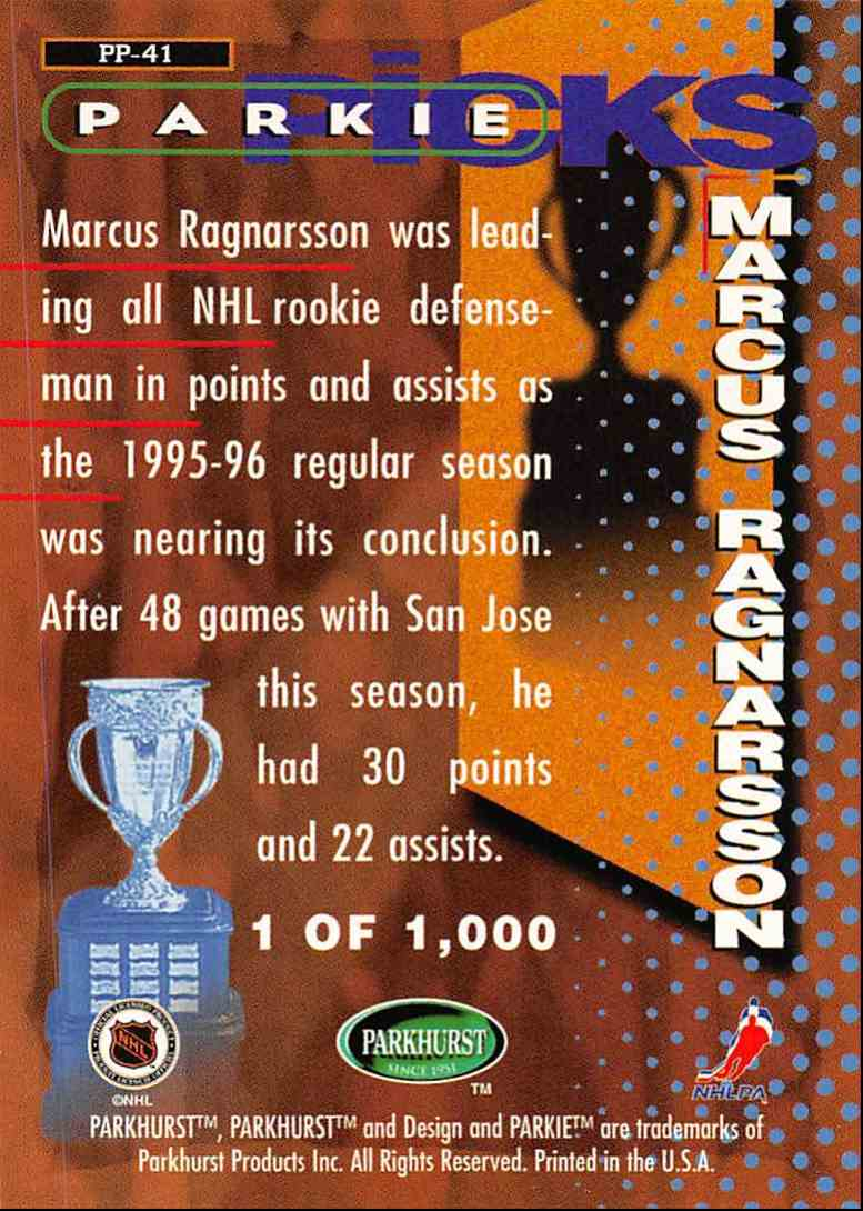 1995-96 Parkhurst International Parkies Trophy Picks Marcus Ragnarsson #PP41 card back image