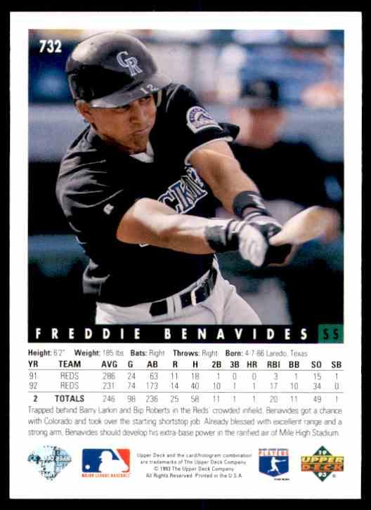 1993 Upper Deck Freddie Benavides #732 card back image