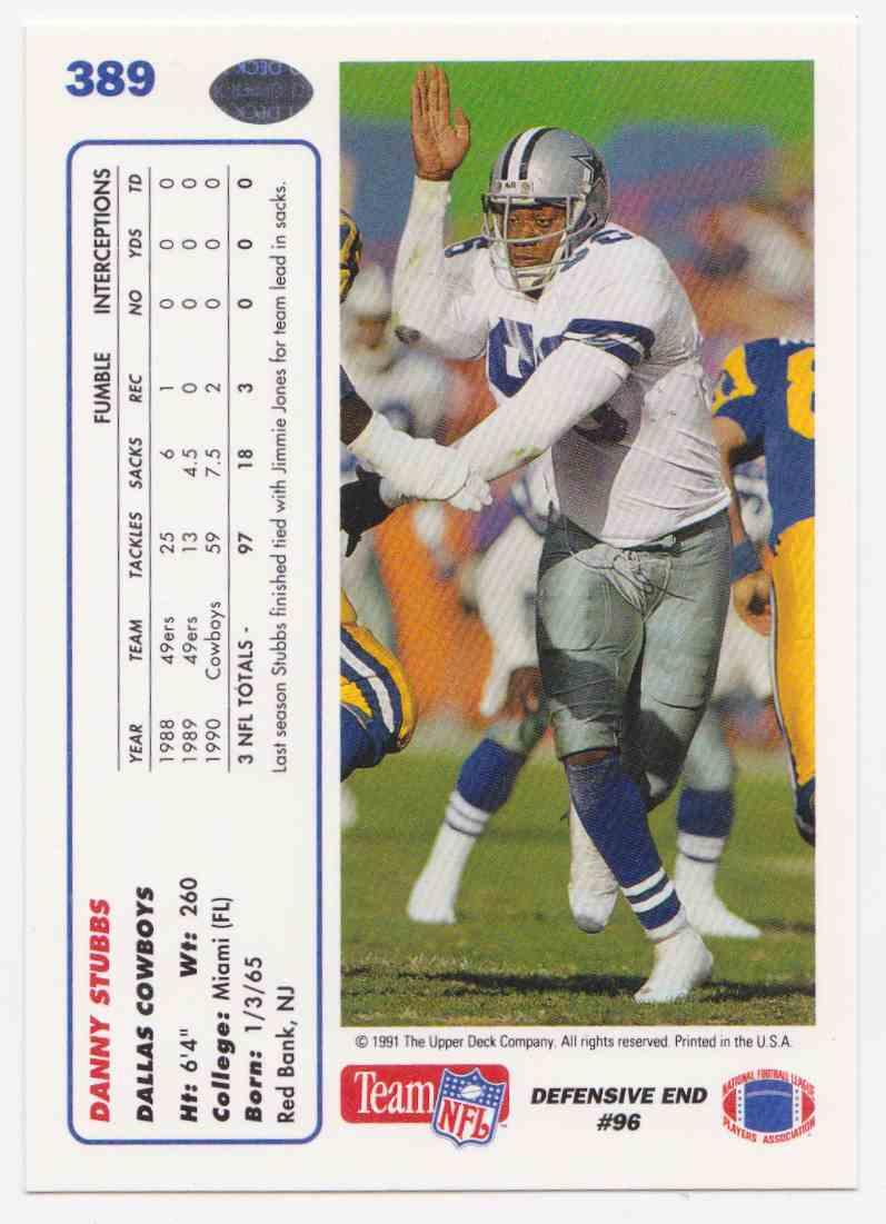 1991 Upper Deck Danny Stubbs #389 card back image