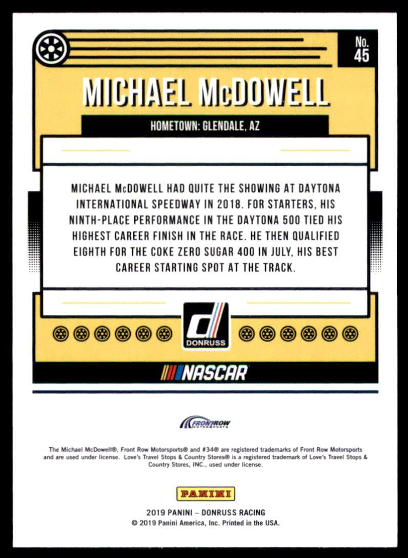 2019 Donruss Michael McDowell #45 card back image