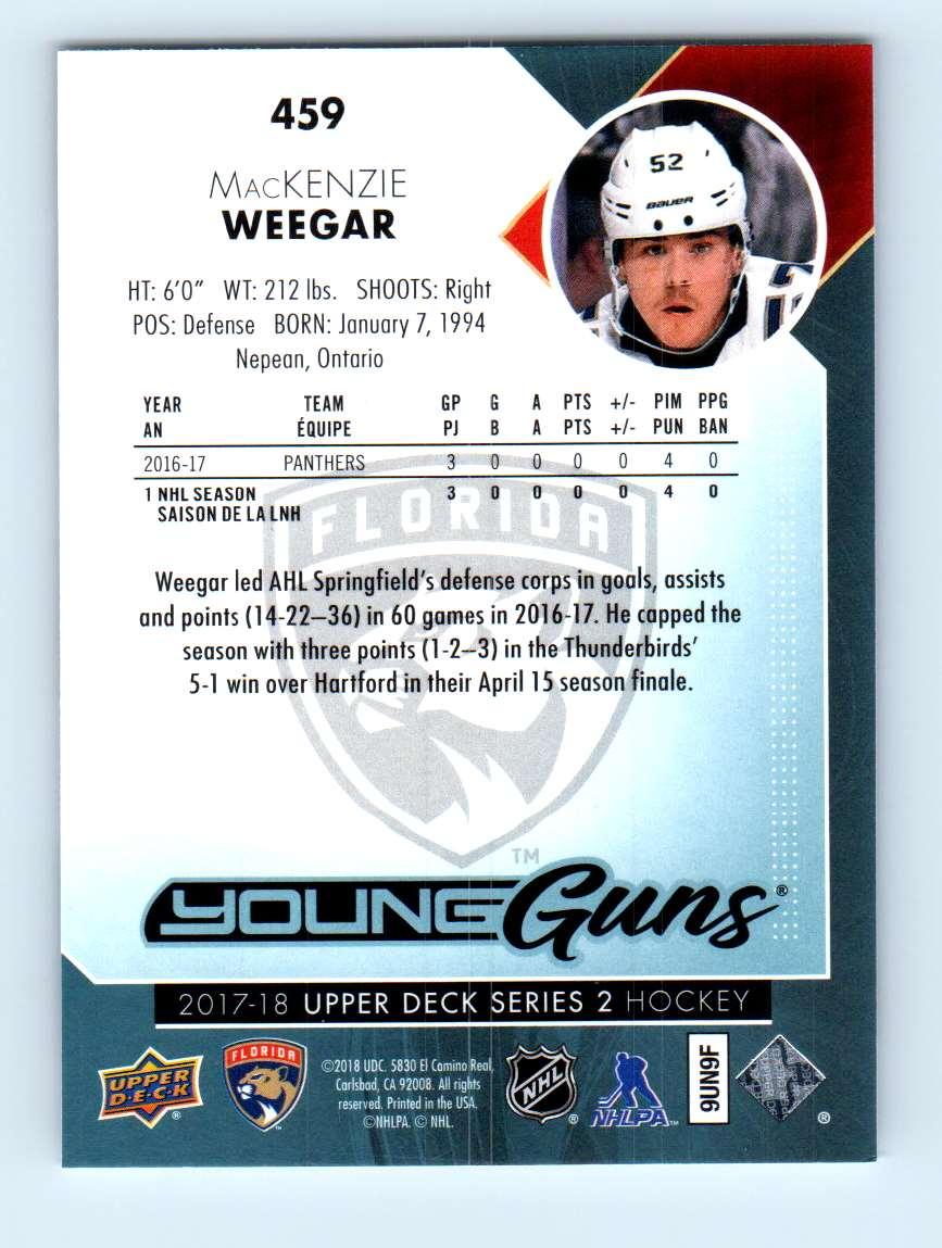 2017-18 Upper Deck Young Guns MacKenzie Weegar #459 card back image