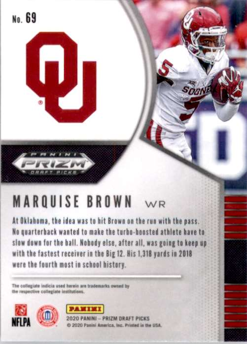 2020 Panini Prizm Draft Picks Marquise Brown #69 card back image