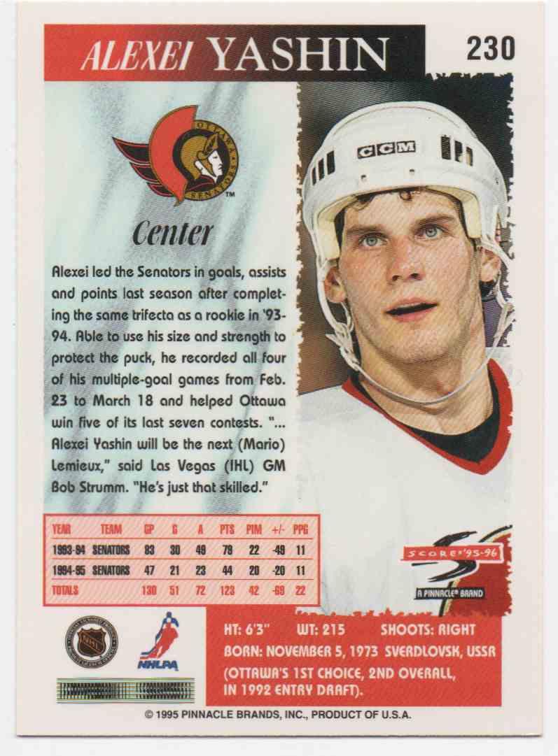1995-96 Score Alexei Yashin #230 card back image