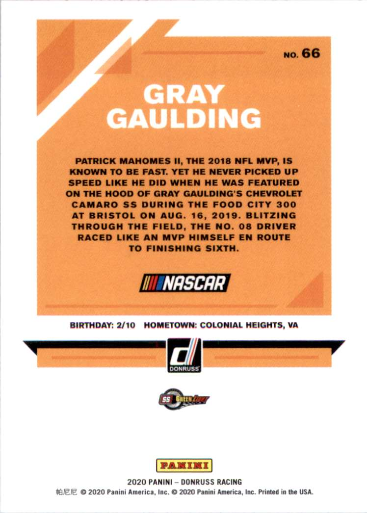 2020 Donruss Gray Gaulding #66 card back image