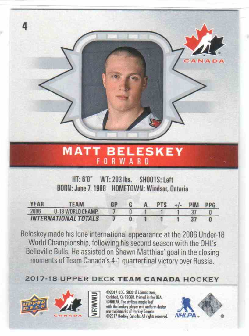 2017-18 Upper Deck Team Canada Canadian Tire Matt Beleskey #4 card back image