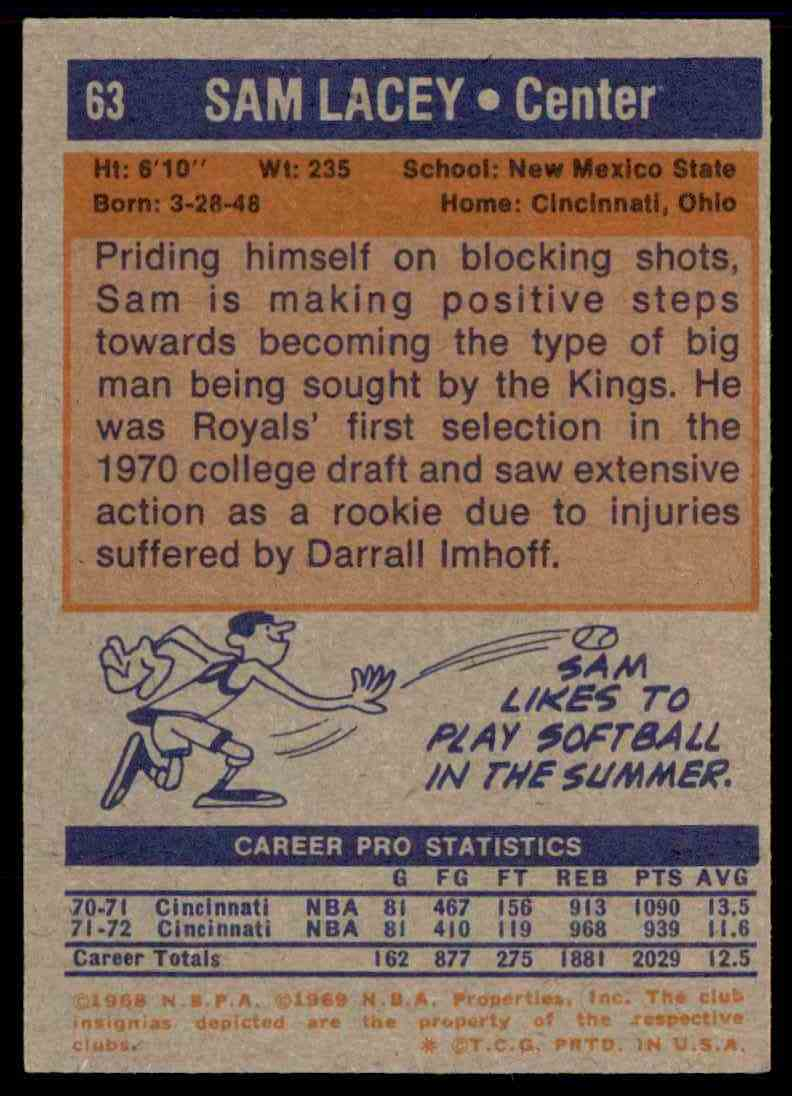 1972-73 Topps Sam Lacey #63 card back image