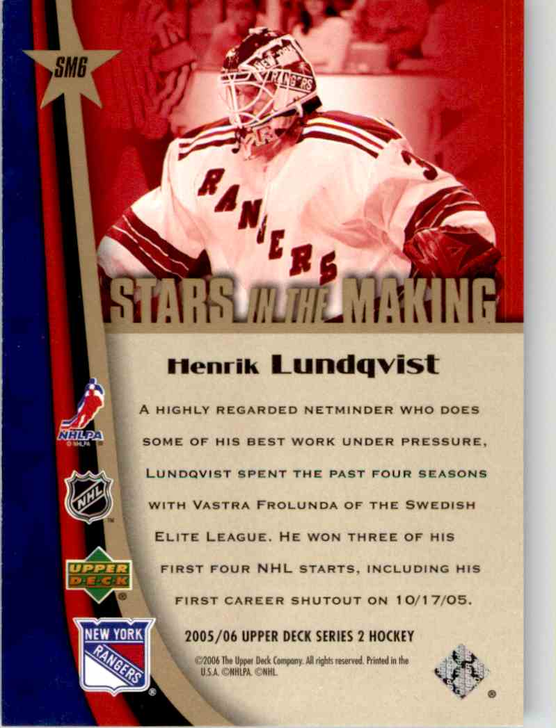 2005-06 Upper Deck Stars In The Making Henrik Lundqvist #SM6 card back image