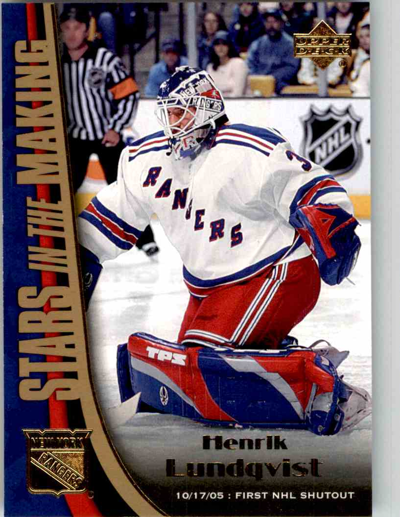 2005-06 Upper Deck Stars In The Making Henrik Lundqvist #SM6 card front image
