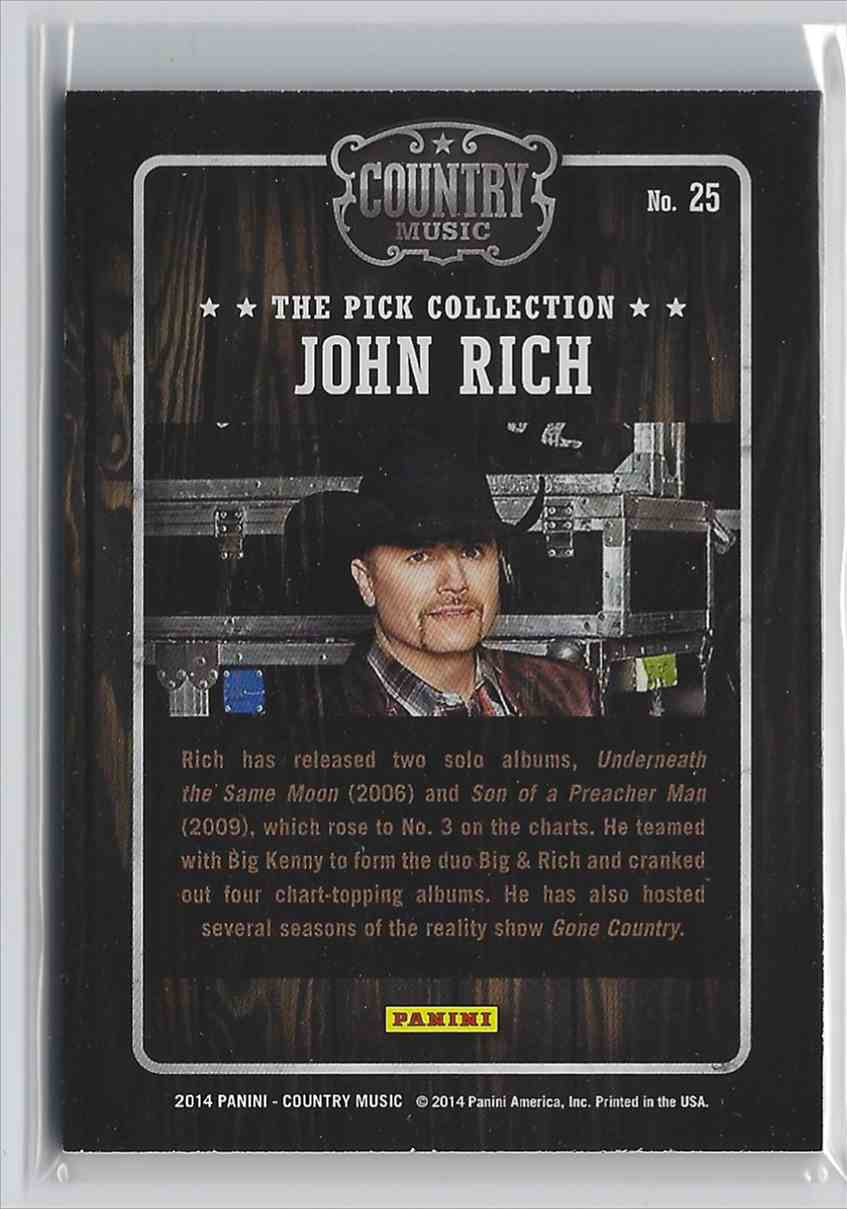 2015 Country Music Pick Collection John Rich #25 card back image