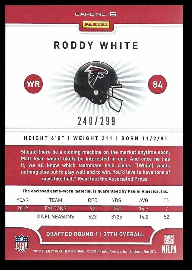2012 Totally Certified Roddy White #5 card back image
