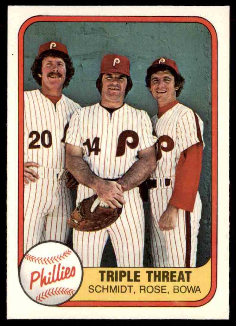 1981 Fleer Pete Rose Mike Schmidt Larry Bowa Triple Threat 645 On