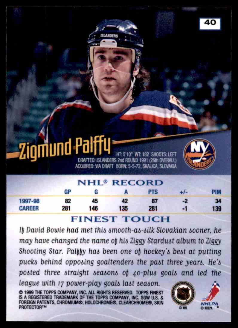 1998-99 Topps Finets Zigmund Palffy #40 card back image