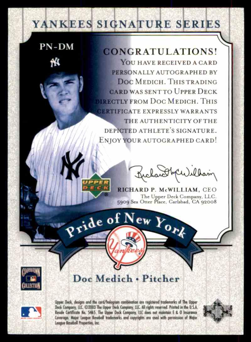 2003 Upper Deck Yankees Siganture Series Doc Medich card back image