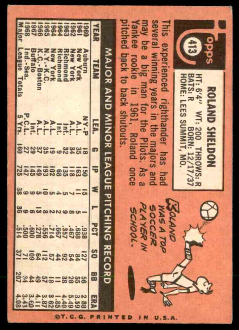 1969 Topps Roland Sheldon #413 card back image