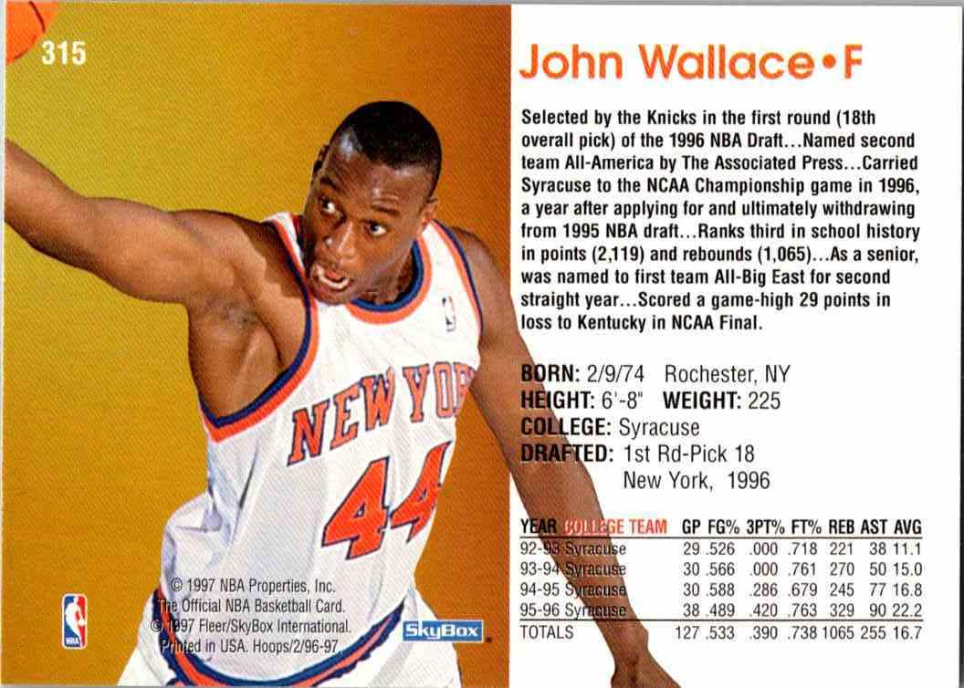 1997-98 NBA Hoops John Wallace #315 card back image