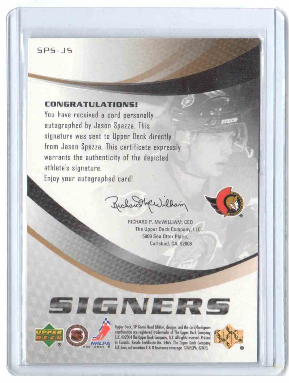 2003-04 SP Game Used Signers Jason Spezza #SPS-JS card back image