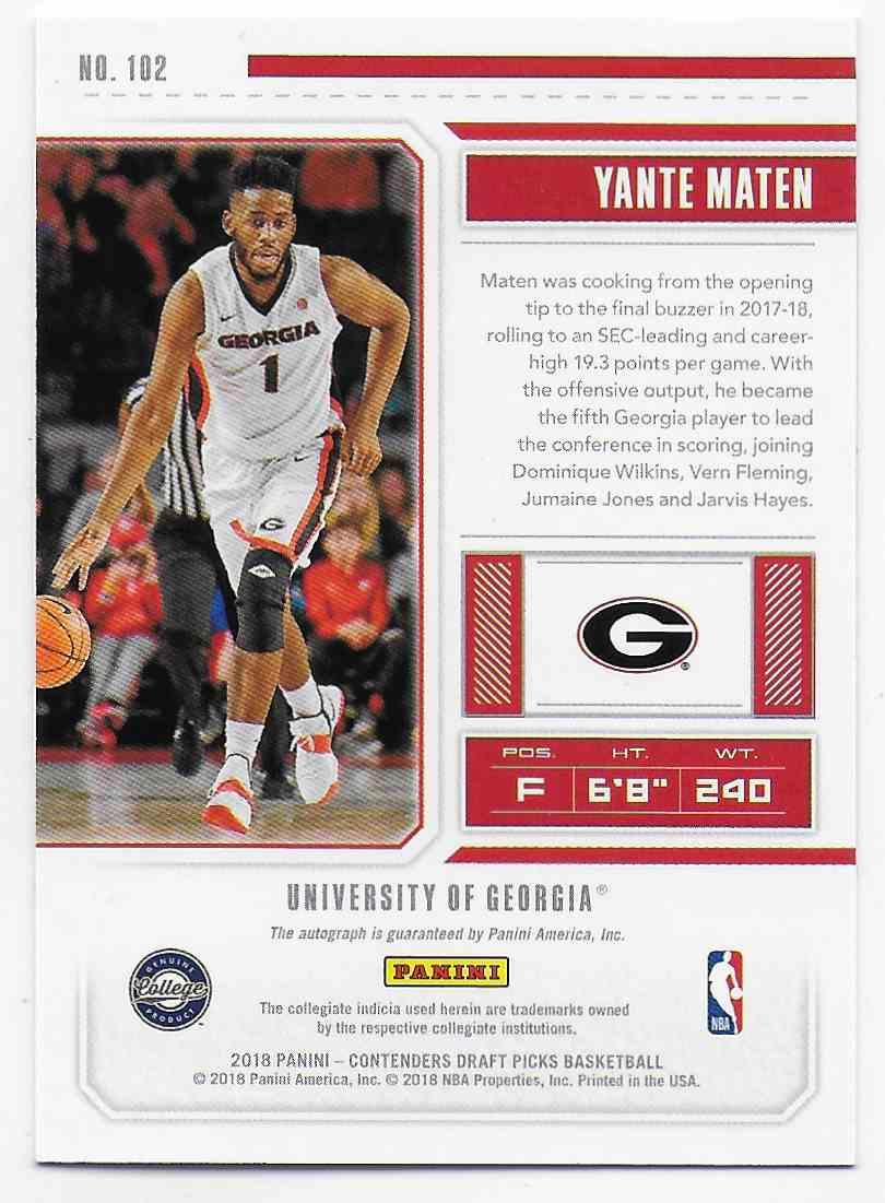 2018-19 Panini Contenders Draft Picks Draft Picks Yante Maten #102 card back image